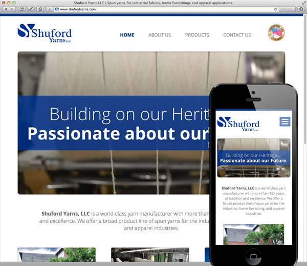 Shuford Yarns responsive website