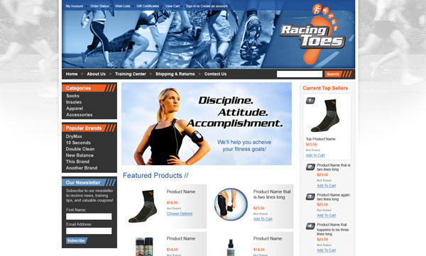 Racing Toes eCommerce Website