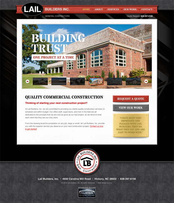 Lail Builders Website Design