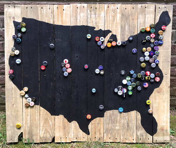 craft beer pallet USA map